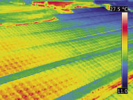 Thermal image made using a camera on a flight over a solar farm.